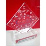 troféus para prêmios em acrílico sob medida Água Funda